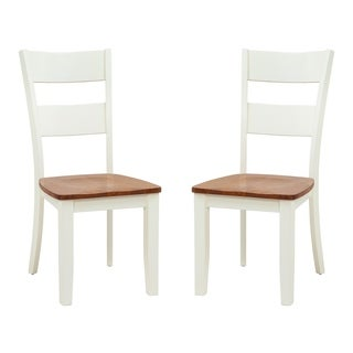 Solid Wood Sturdy Dining Chair / Modern Kitchen Chair, Oak And White (Set of 2)