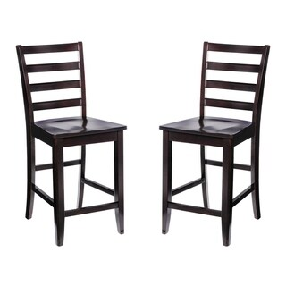Solid Wood Counter Height Sturdy Dining Chair / Modern Kitchen Chair, Cappuccino (Set of 2)