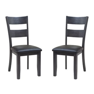 Hand Crafted Solid Wood Dining Chairs In Dark Gray (Set of 2)