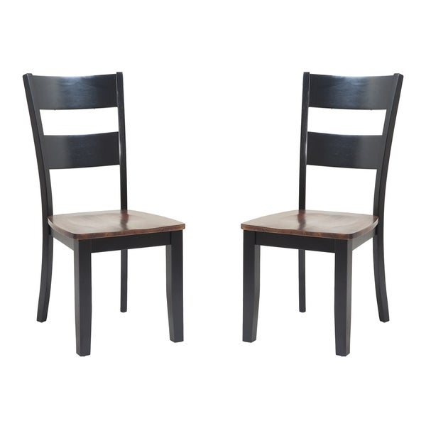 Solid Wood Sturdy Dining Chair / Modern Kitchen Chair, Distressed Light Cherry And Black (Set of 2)