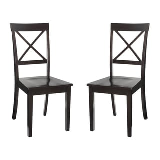 Cross-back Solid Wood Dining Chairs In Cappuccino (Set of 2)