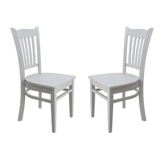 Solid Wood Sturdy Dining Chair / Modern Kitchen Chair, White (Set of 2)