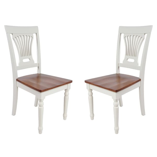 Solid Wood Sturdy Dining Chair / Modern Kitchen Chair, Buttermilk And Saddle Brown (Set of 2)