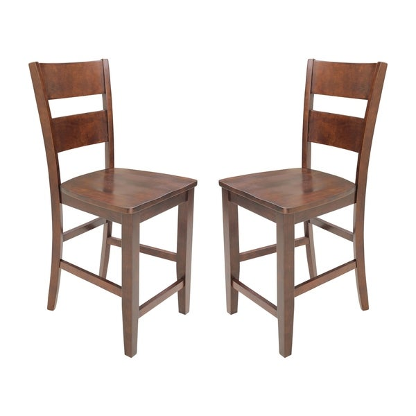 Solid Wood Counter Height Sturdy Dining Chair / Modern Kitchen Chair, Espresso (Set of 2)