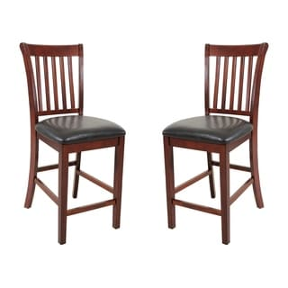 Solid Wood Dining Chairs Counter Height In Chestnut (Set of 2)