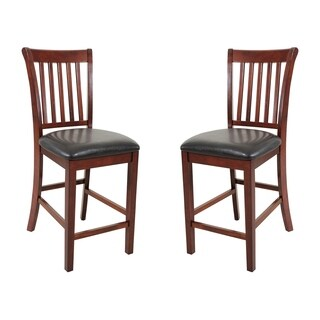 Solid Wood Counter Height Sturdy Dining Chair / Modern Kitchen Chair, Chestnut (Set of 2)