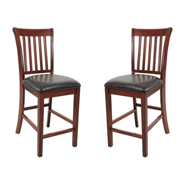 Solid Wood Counter Height Sturdy Dining Chair Modern Kitchen Chair Chestnut Set Of 2 Overstock 17853705