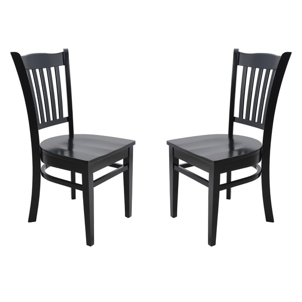 Solid Wood Sturdy Dining Chair / Modern Kitchen Chair, Black (Set of 2)