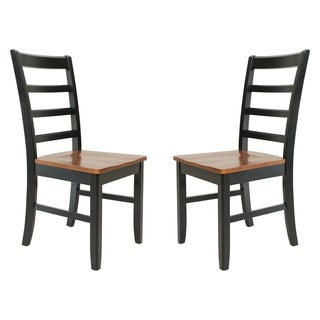 Solid Wood Sturdy Dining Chair / Modern Kitchen Chair, Black And Saddle Brown (Set of 2)