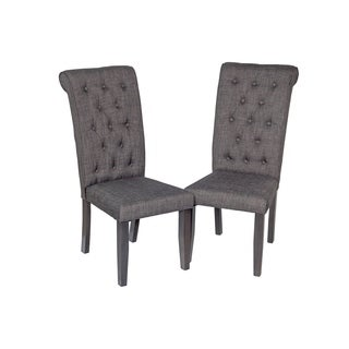 Solid Wood Sturdy Dining Chair / Modern Kitchen Chair, Dark Gray (Set of 2)