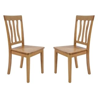 Tropical Hardwood Dining Chairs In Oak (Set of 2)