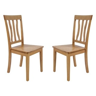 Solid Wood Sturdy Dining Chair / Modern Kitchen Chair, Oak (Set of 2)