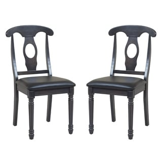 Contemporary Style Solid Wood Dining Chairs In Dark Gray (Set of 2)
