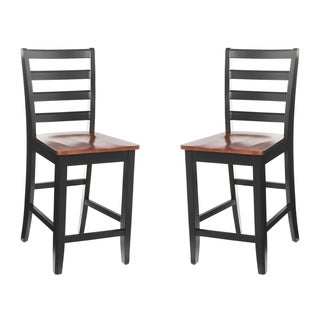 Solid Wood Counter Height Sturdy Dining Chair / Modern Kitchen Chair, Black And Saddle Brown (Set of 2)