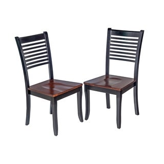 Trendy Solid Wood Dining Chair In Distressed Light Cherry And Black (Set of 2)