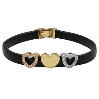 Luxiro Sterling Silver Tri-color Finish Cubic Zirconia Acrylic Black Band Bracelet|https://ak1.ostkcdn.com/images/products/17853732/P24041737.jpg?_ostk_perf_=percv&impolicy=medium
