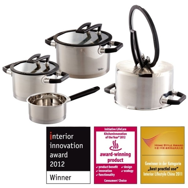 Elo Germany Premium Black Pearl Stainless Steel Induction Cookware Set, 7 Piece