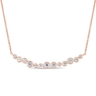 Miadora Signature Collection 14k Rose Gold 1/2ct TDW Diamond Clustered Journey Necklace - White