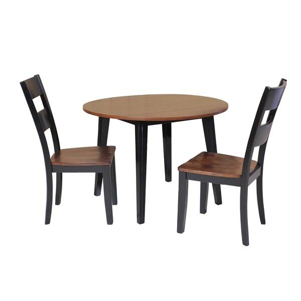 "Cherry Kitchen Table Set: Shop 3-Piece Solid Wood Dining Set ""Caroline"", Modern"