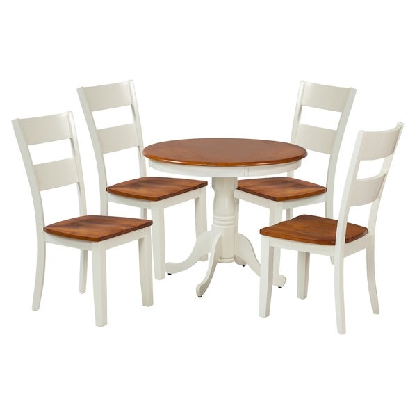 "5-Piece Solid Wood Dining Set ""Kimberley"", Modern Kitchen Table Set, Oak And White"