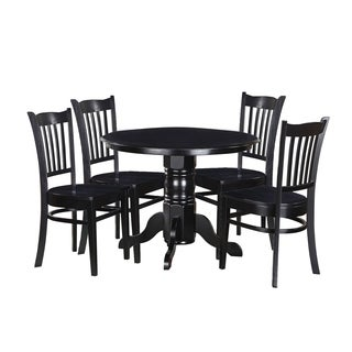 "5-Piece Solid Wood Dining Set ""Morley"", Modern Kitchen Table Set, Black"