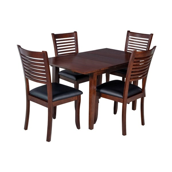 "5-Piece Solid Wood Dining Set ""Armstrong"", Modern Kitchen Table Set, Espresso"