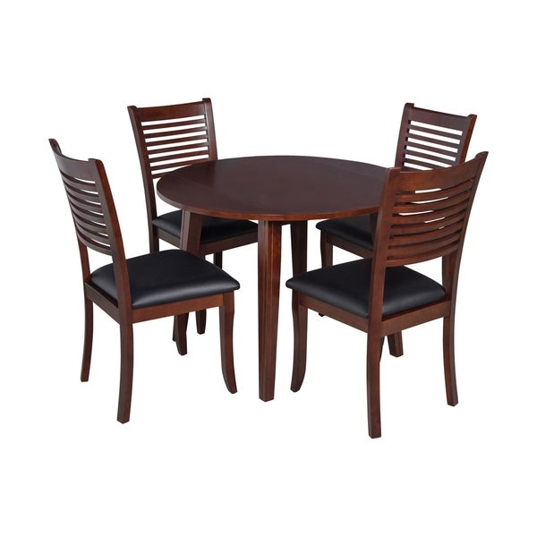 "5-Piece Solid Wood Dining Set ""Caroline"", Modern Kitchen Table Set, Espresso"