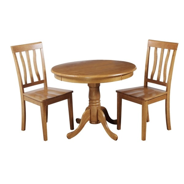 "3-Piece Solid Wood Dining Set ""Kimberley"", Modern Kitchen Table Set, Oak"