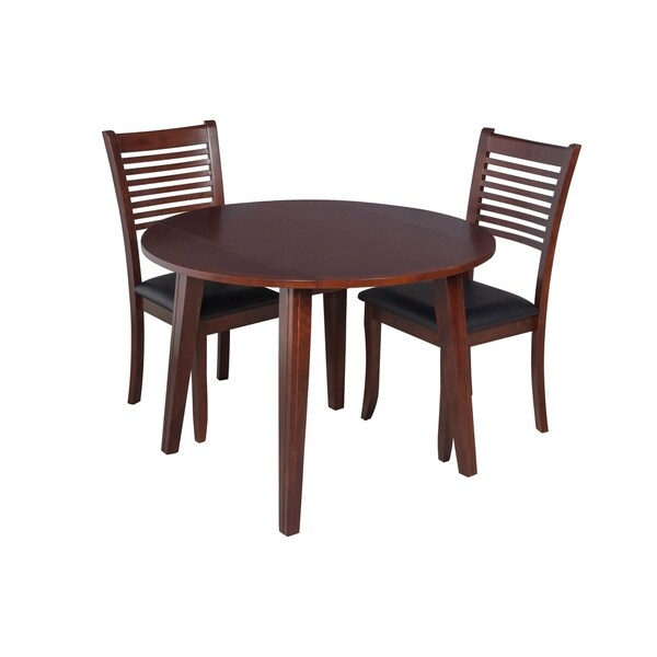 "3-Piece Solid Wood Dining Set ""Caroline"", Modern Kitchen Table Set, Espresso"