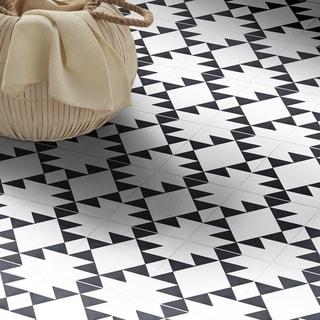 Handmade Rissani Black/White Tile, Pack of 12 (Morocco)