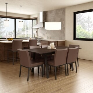 Amisco Perry Metal Chairs and Drift Extendable Table, Dining Set in Brown Metal and Brown Polyurethane