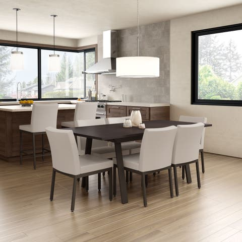 Amisco Perry Metal Chairs and Drift Extendable Table, Dining Set in Brown Metal and Beige Polyurethane