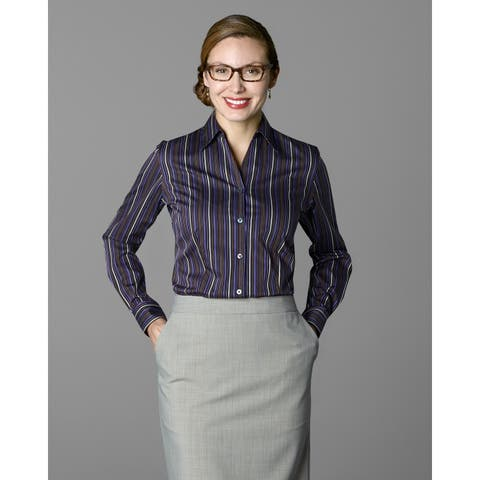 Twin Hill Womens Shirt Purple/Rust Cotton/Poly Stripe