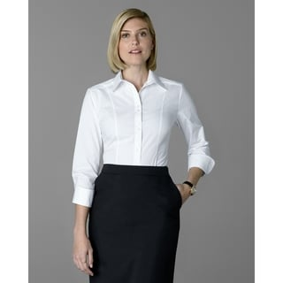 Twin Hill Womens Shirt White Cotton Stretch Double Button (Option: 6)