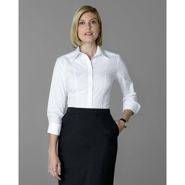 Twin Hill Womens Shirt White Cotton Stretch Double Button