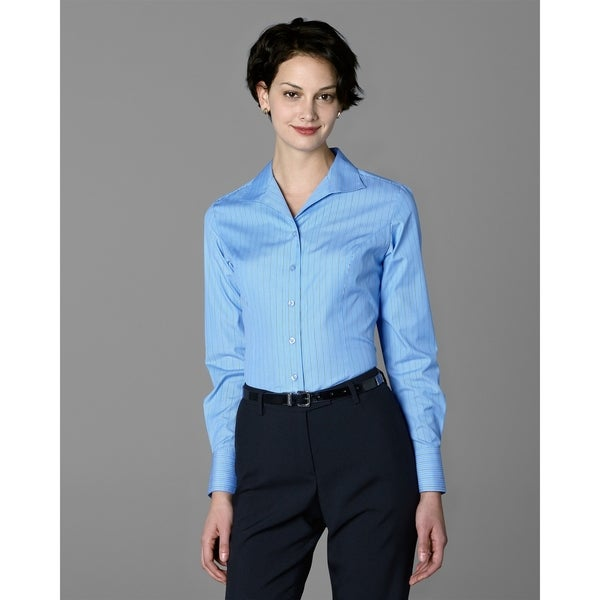 Twin Hill Womens Shirt Blue & Black Stripe Cotton/Poly
