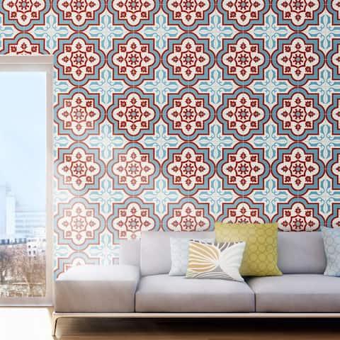 Handmade Taza Blue, Red, White Tile, Pack of 12 (Morocco)