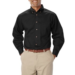 Blue Generation Mens Shirt Black Poly/Cotton Button Down Collar