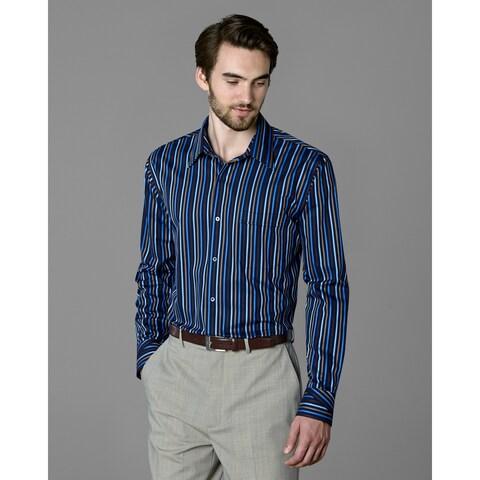 Twin Hill Mens Shirt Navy/Latte Cotton/Poly Stripe