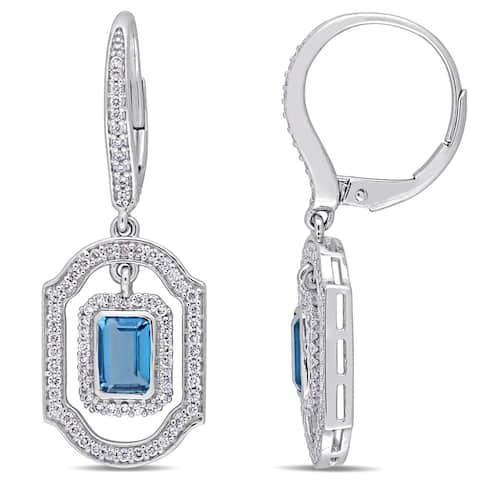Miadora Signature Collection 14k White Gold Blue Topaz and 3/5ct Diamond Geometric Leverback Dangle Earrings
