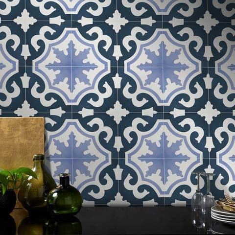 Handmade Tanger Purple and Navy Blue Tile, Pack of 12 (Morocco)