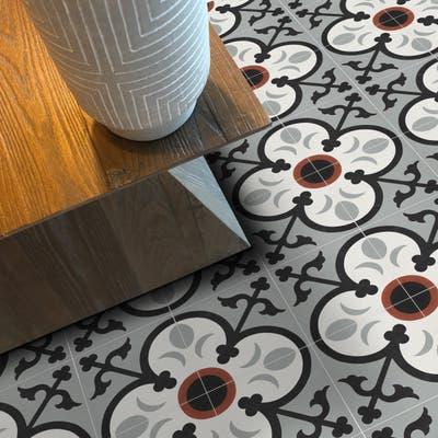 Handmade Nador Grey, Black, Red Tile (Morocco)