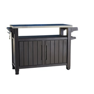 Keter Unity XL Indoor Outdoor Serving Cart Prep Station with Storage