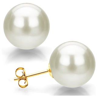 DaVonna 14k Yellow Gold 12mm White Round Shell Pearl Stud Earrings