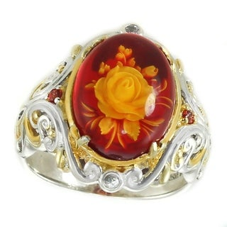 Michael Valitutti Palladium Silver Carved Red Amber, White & Orange Sapphire Ring