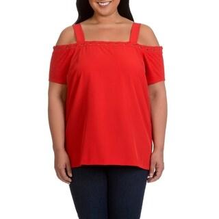 Love Scarlet Women's Plus Size Lace-Up Neckline Cold Shoulder Top