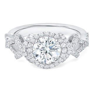 LeZari & Co. 1.60ct TDW with 1.05ct Center Diamond wrapped in a Halo, U Pave set X's and O's engagement ring in 18K White Gold.