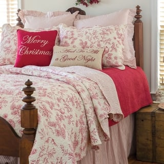 Evergreen Toile Cotton Quilt Set