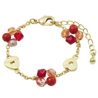 Luxiro Gold Finish Red 4mm Balls with Red and Pink 4mm Beads Open Heart Children's Bracelet (2 options available)