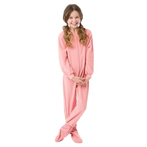 Big Feet Pjs Big Girls Kids Pink Fleece Footed Pajamas One Piece Sleeper Footie Pajamas